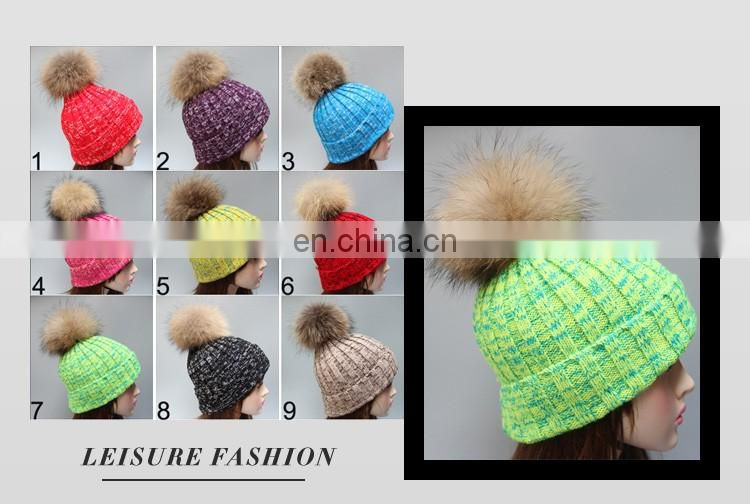 Wholesale fashion pompon wool knitted women beanie winter hat