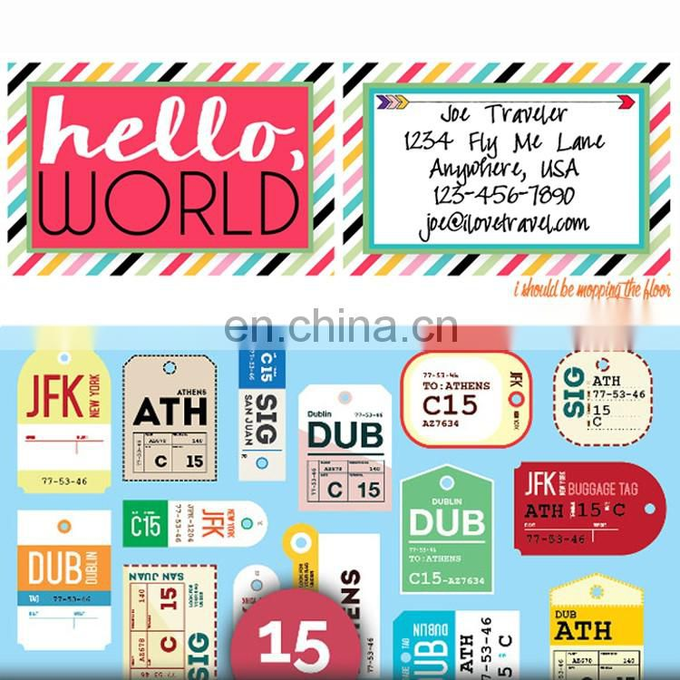 personalised travel tag artwork coloured suitcase luggage labels