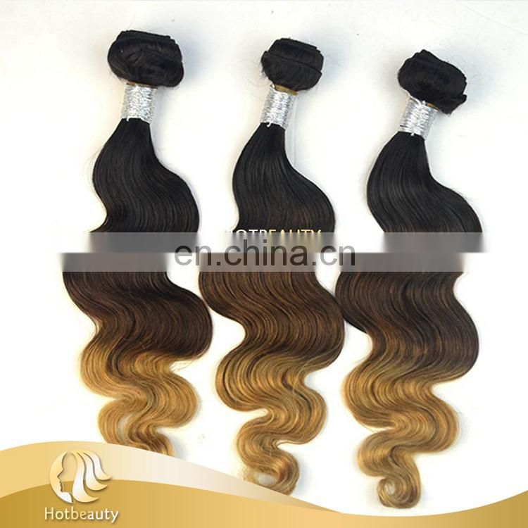 3 tone color body wave virgin peruvian human hair clean and neat full cuticle aligned