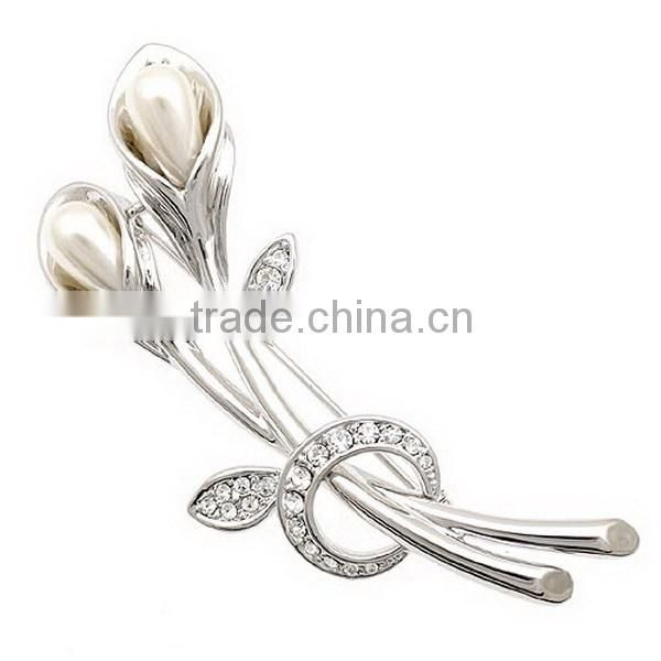 Clarimond tulip gold &silver brooch fashion costume brooch for birthday party