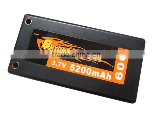 Hard case 3.7v 5200mah rc battery operated toy race car for airplane/car/toy, factory wholesale rechargeable rc lipo battery
