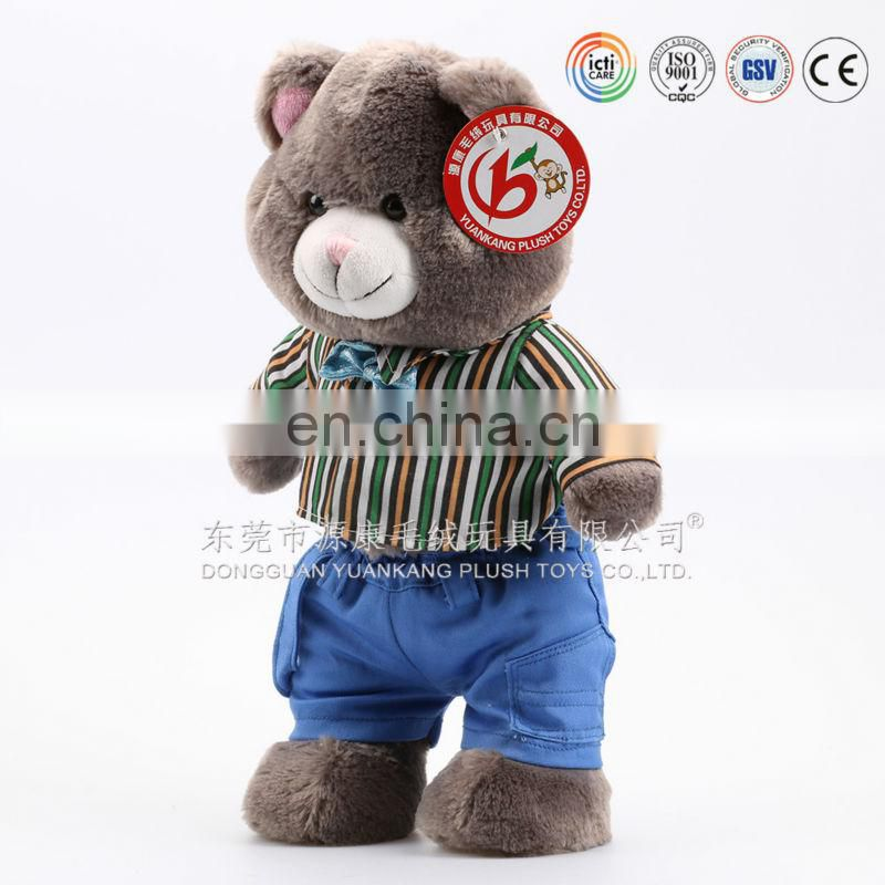 ICTI Audit China factory 2016 nice design hot sale plush teddy bear toy with T-shirt