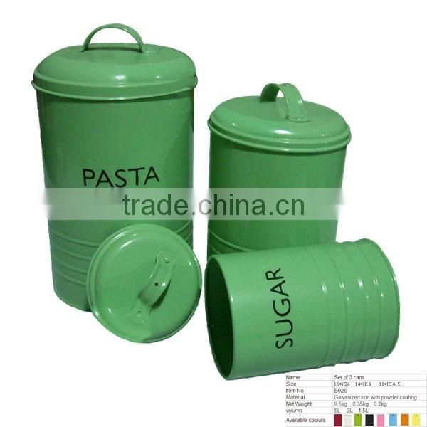B026 Iron Tea/Pasta/Flour Canister Food Storage Metal Boxs With Lid