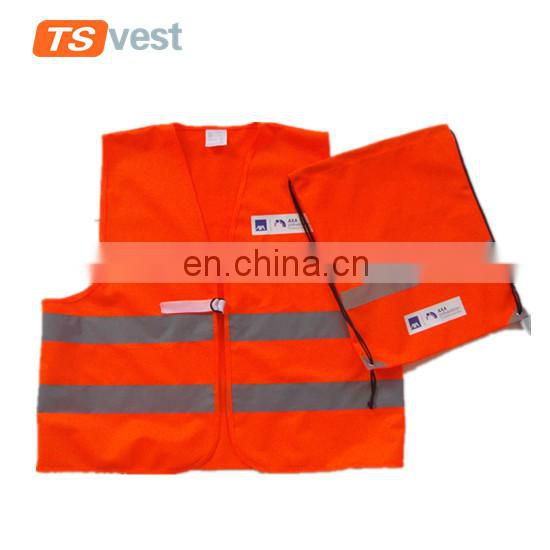 High quality red 100% polyester safety vest with packing pouch