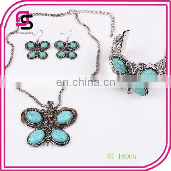 Hot Sell Fashion Turquoise Butterfly jewely set