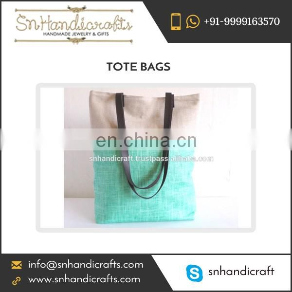 Mint and White Colored Canvas Tote Bag with Black Leather Straps