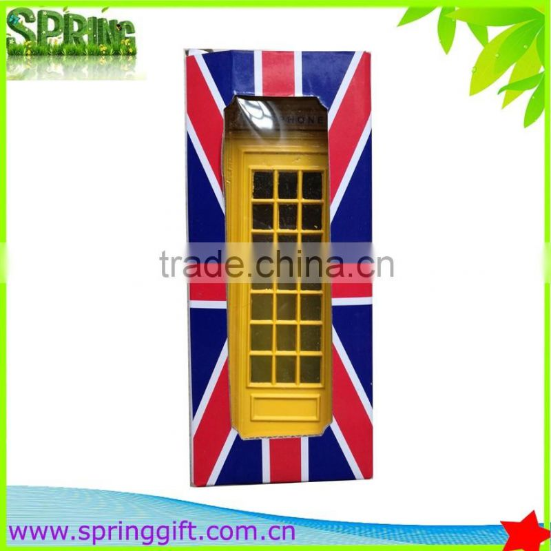 Metal crafts British streets of London phone booth Red Telephone box piggy bank