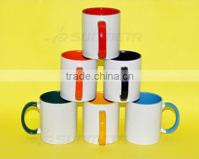 Wholesale 11oz white ceramic sublimation blank mug,Promotional 11oz Inside Color Ceramic coffee Mug, White heat transfer coffee
