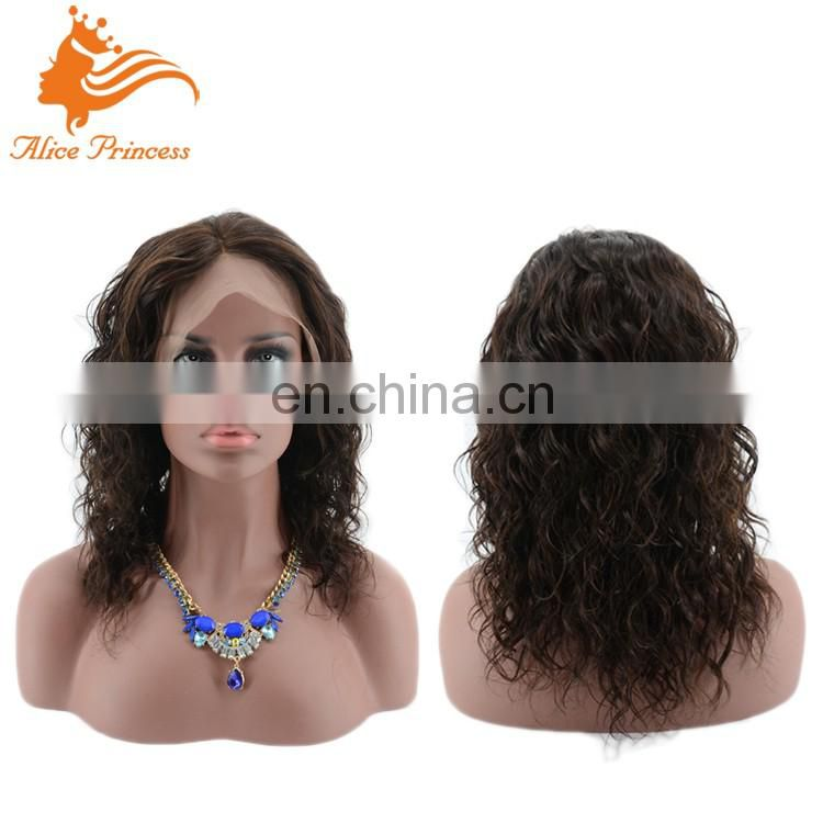 Wholesale Price Brazilian Virgin Human Hair Bleached Knots Natural Hairline Wave Style Lace Wigs Middle Part Front Lace Wig