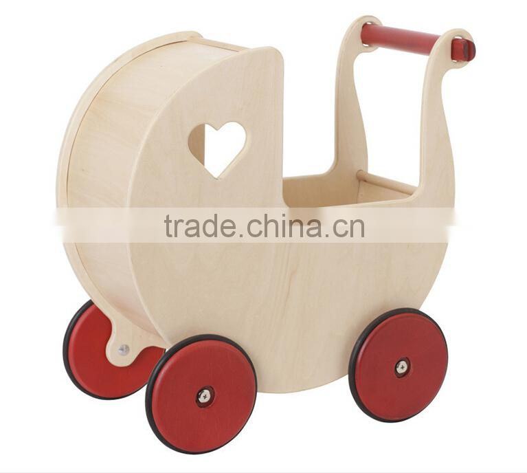 2016 Popular Kids Educational Wooden Push Toy Stroller Round Baby Walker Wholesale for Children
