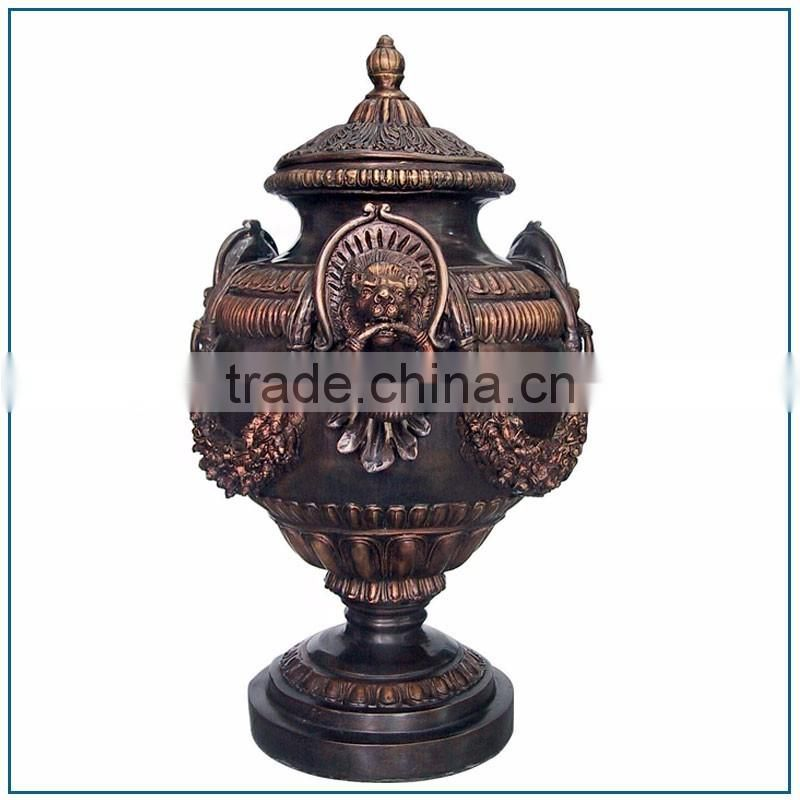High Quality Large Size Antique India Brass Vase with Lion Head Handels