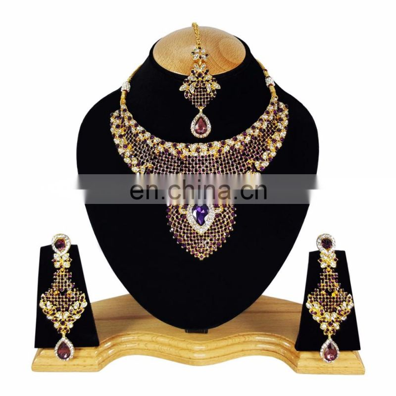 Indian Designer Gold Plated Bollywood Pary wear Jewelry Necklace Set Dark Purple Color