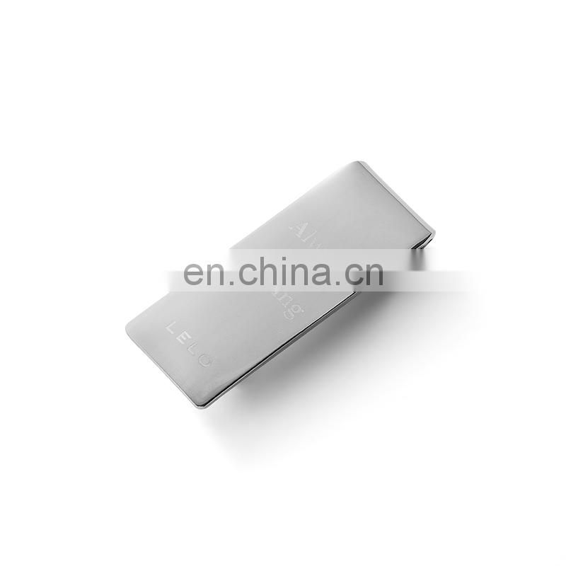 Shenzhen manufacturer custom hinged metal silver slim money clip