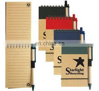 Eco Friendly Pocket Small Kraft Cover Notebook with Ball Pen