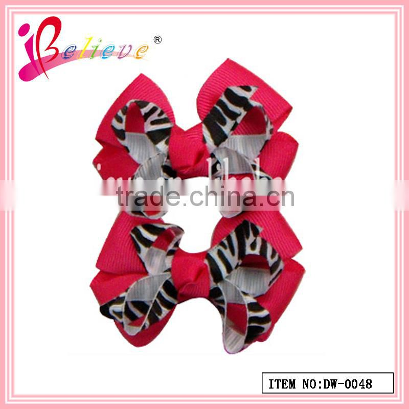 Newest design fashion hair accessories baby girls animal leopard ribbon bow hairgrips (DW--0034)
