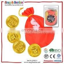 Low price funny pirate toy set plastic fake gold coins for kids