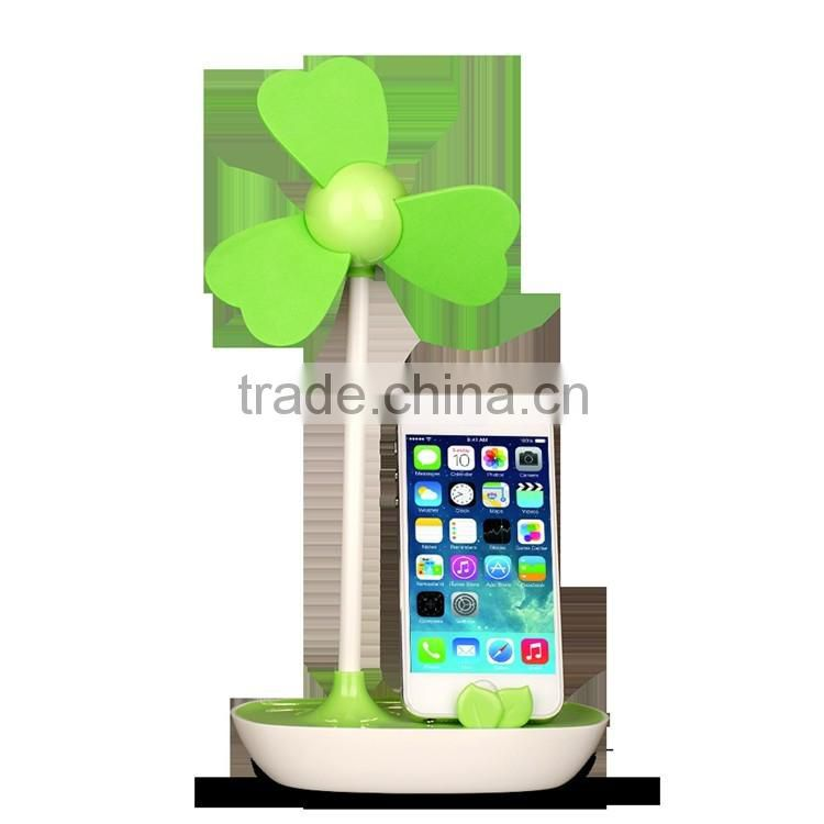 Universal Oem Logo Super Sound Off Electric Phone Holder Desk Usb Fan Promotion