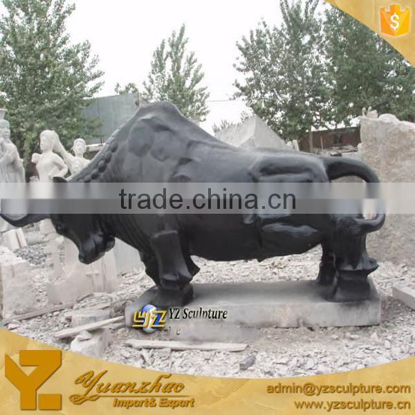 Outdoor Decoration Life Size Black Stone Marble Bull Statue Sculpture