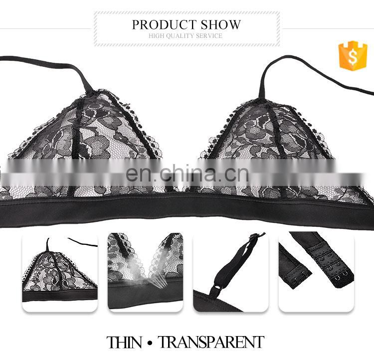 professional factory high quality sexy ladies wireless cup lace bra and mesh panty new design underwear set