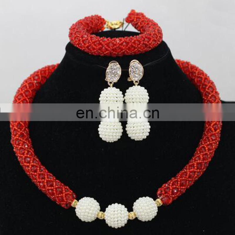 Nigeria party necklace earrings braceletWedding jewelry set 3 in oneHandwork jewelry on sale