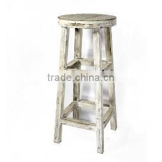 Distreesed Cream Tall Wooden Stool