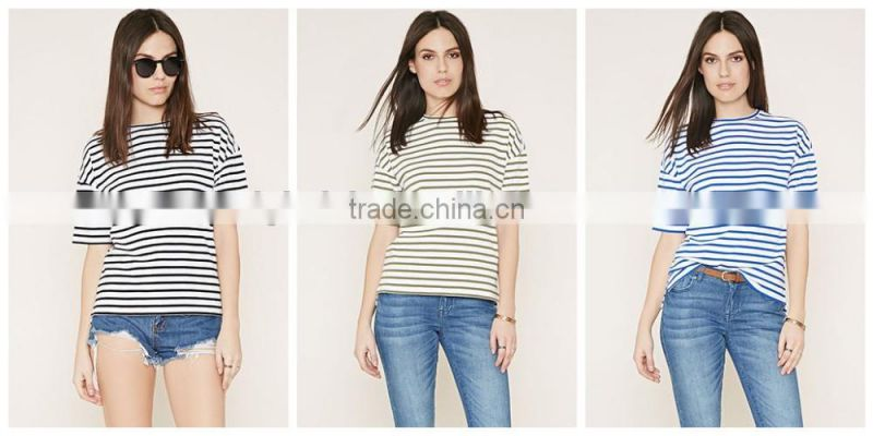 custom women's casual stripe t-shirts