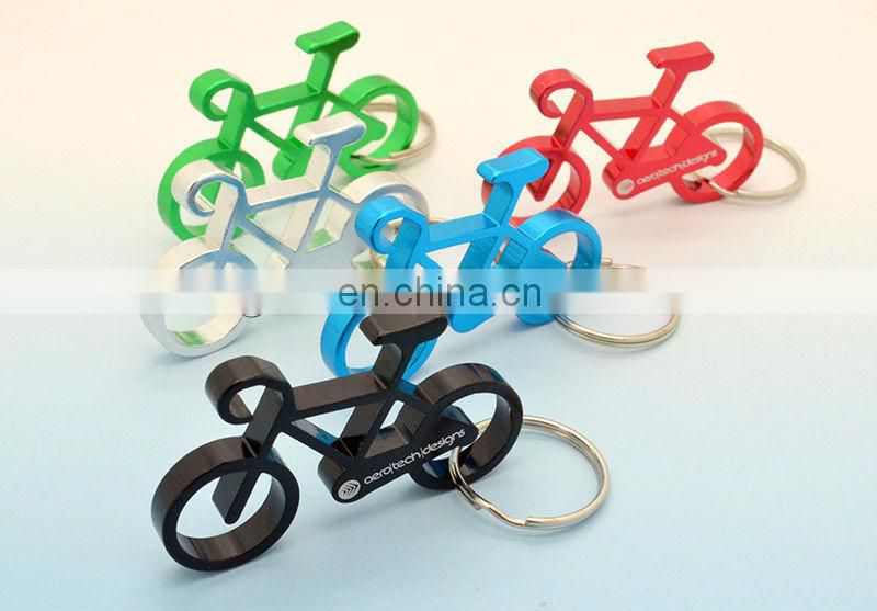 Promotional metal keychain opener with bicycle shape