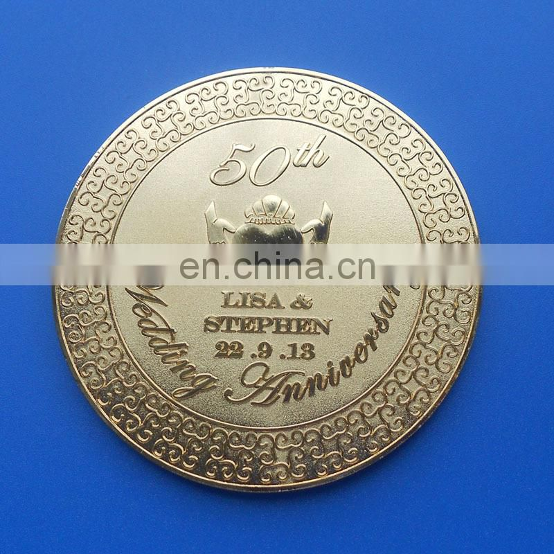 2017 high quality metal round shape customized gold cup coaster