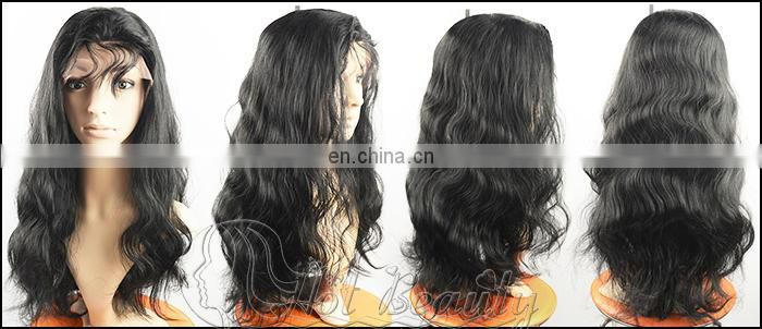natural black body straight deep kinky wave 100% brazilian human hair full lace wig