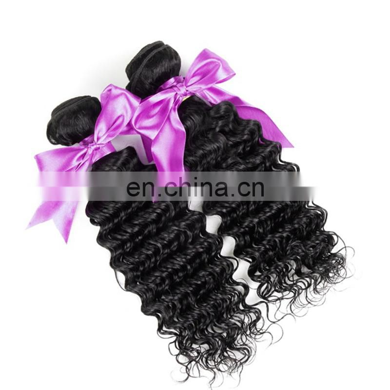 Wholesale color 1# deep wave human hair extension