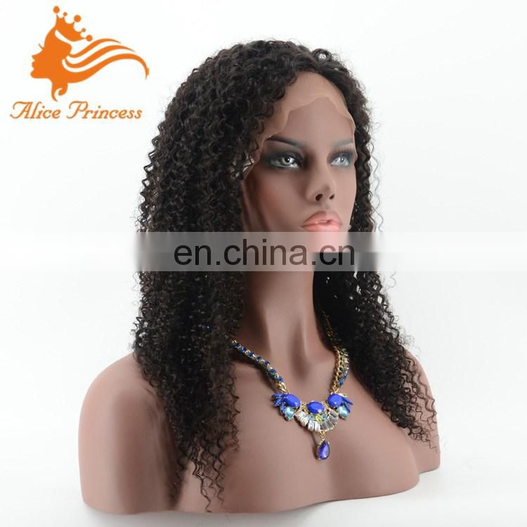 High Quality Factory Wholesale Price 100% Virgin Brazilian Human Hair Glueless Kinky Curly Full Lace Wig
