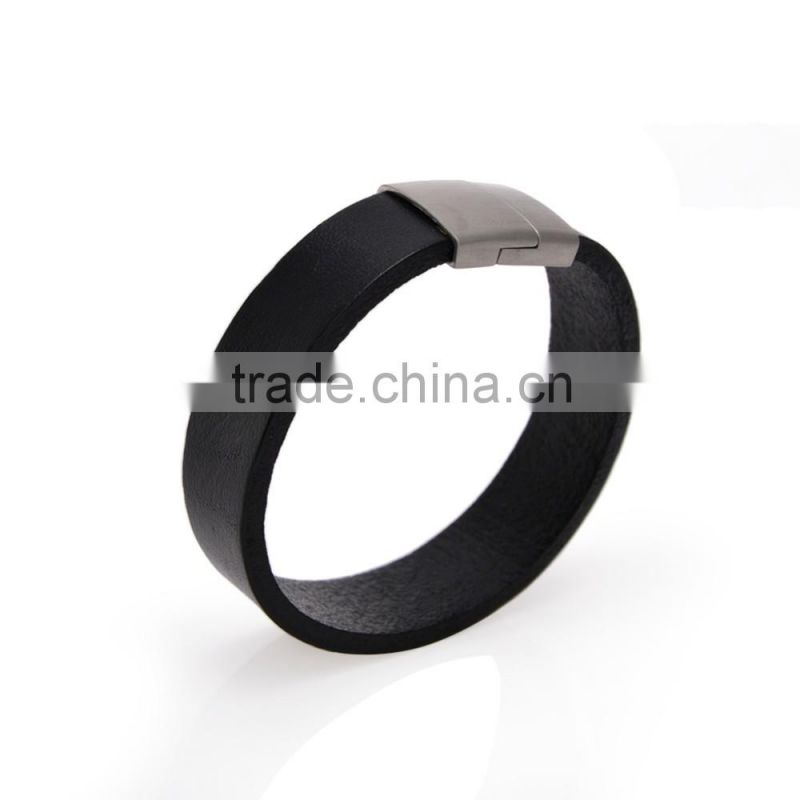 50PC New Arrival Brief Black Leather Bangle Fashion Magnet Clasp Bracelet Wholesale Jewellery