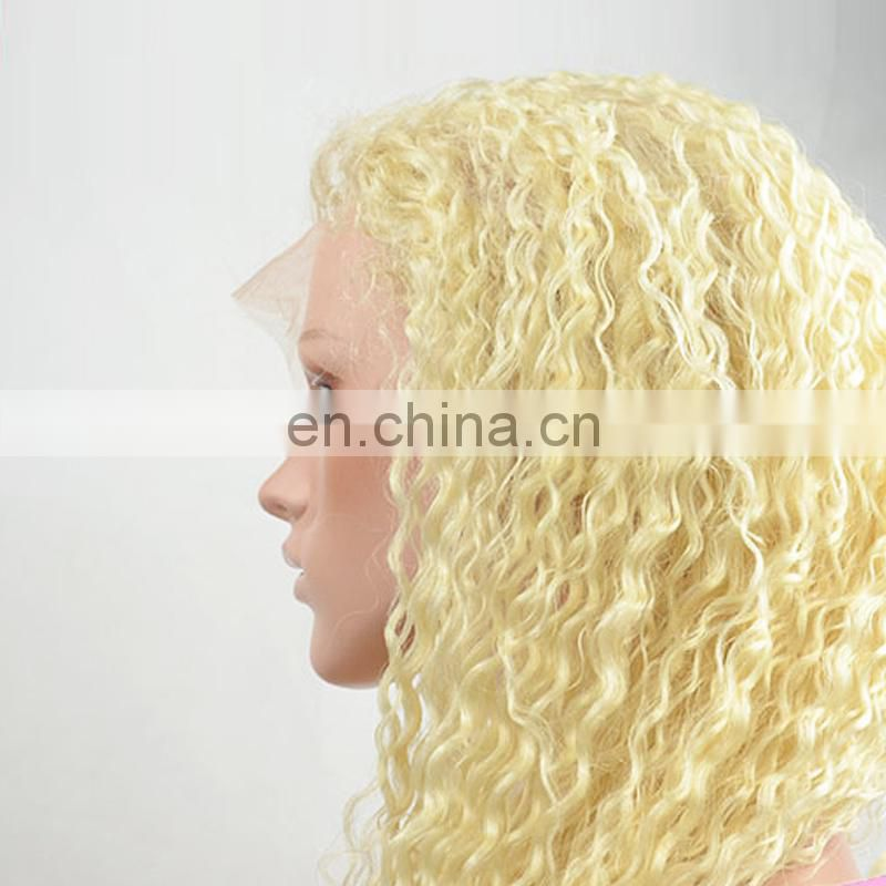 100% human hair full lace hair extensions blonde color 613 wigs