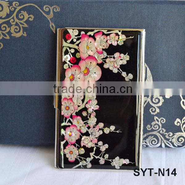 Wedding gift set mother of pearl card holder metal