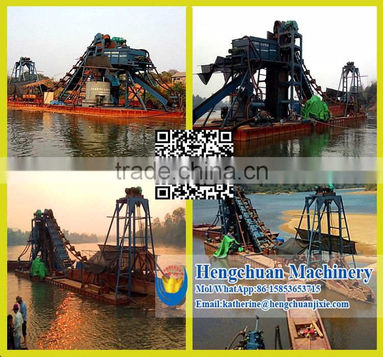 Gold Dredge Boat in River for Gold Sand Dredging and Slecting