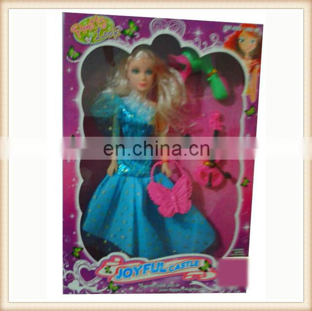 "11"" plastic toy fashion blonde girl doll"