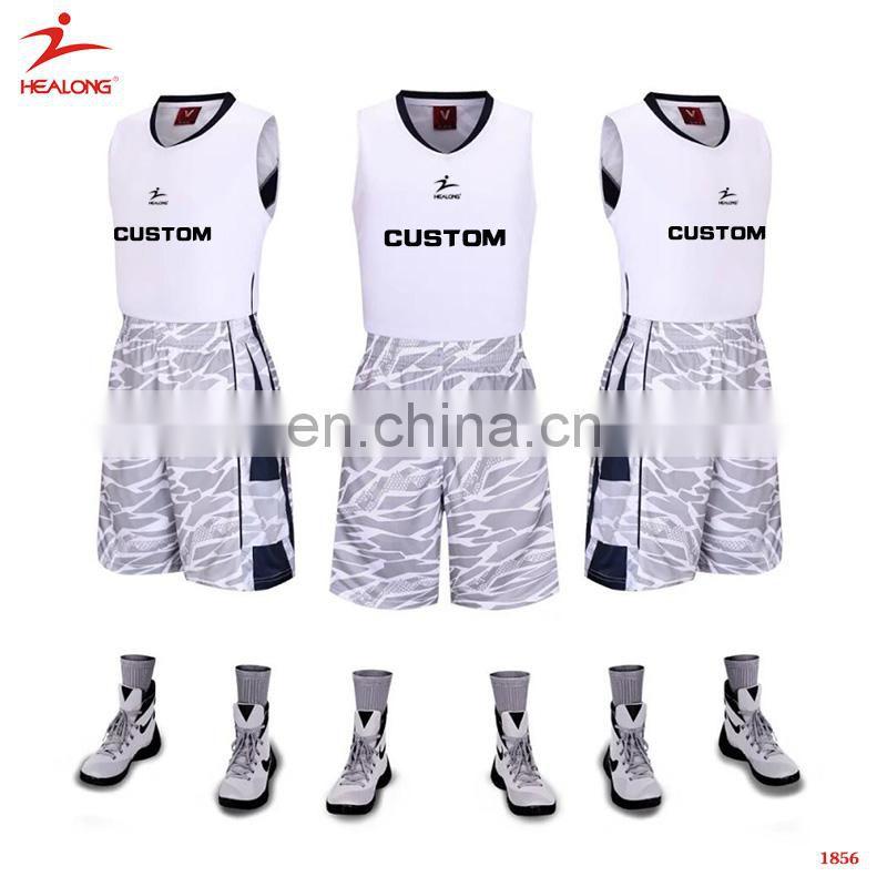 da47c1e98f9b Sublimated Printing Healong White Basketball Uniforms Fashionable ...