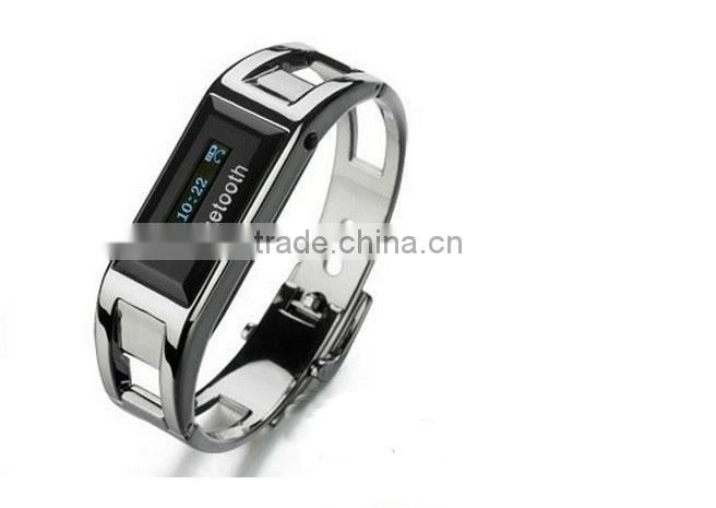2014 Stainless Steel Bluetooth Smart Bracelet Watch Handsfree with Vibration Digital Time Display