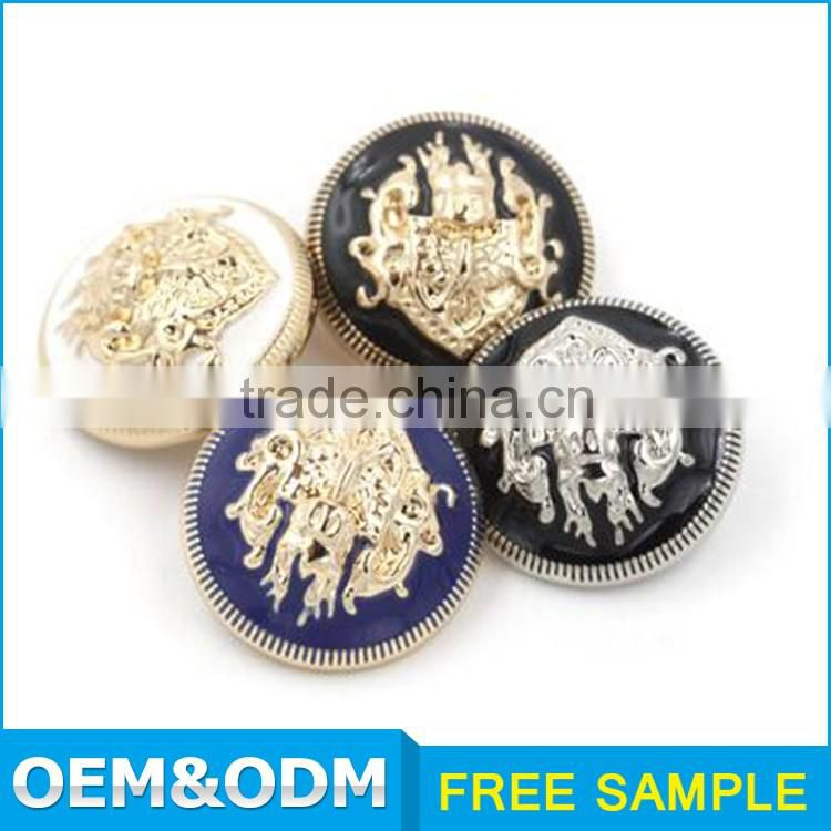 Garment accessories supplier high grade gold black custom metal 4 hole buttons