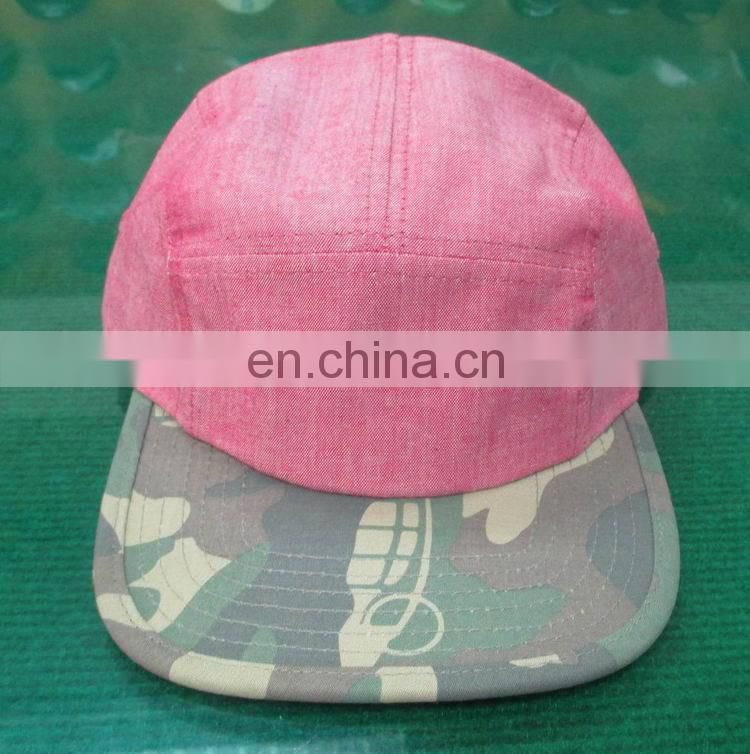 ac896aef438 simple 5 panel camp snapback hat with camouflage visor of 5 panel ...