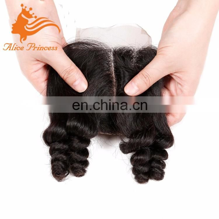7A Unprocessed Brazilian Virgin Hair Closure Bouncy Curly Spiral Curl Lace Closure 4x4 Free Part Human Hair Closure
