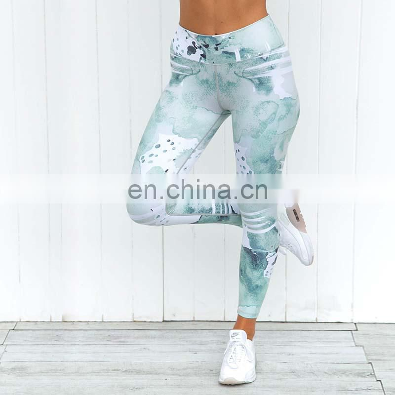 Ink printing fashion fitness training women's skinny stretch leggings