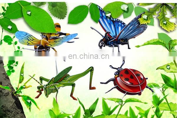 4 kinds mixed funny diy toy 3d insect paper puzzle for kid 2016