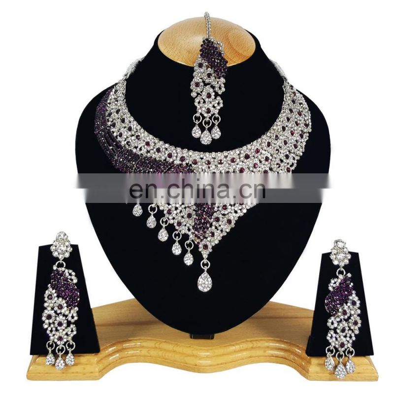 Latest Most Charming Purple Color Silver Plated Kundan Zerconic Necklace Earrings Tikka