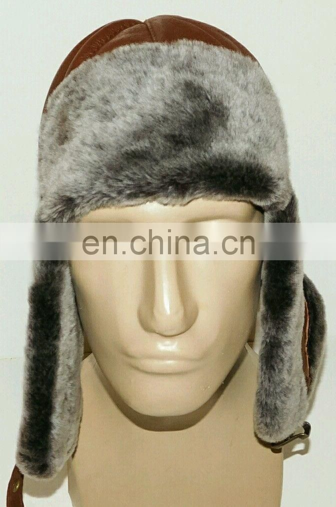 Trapper Trooper Leather Aviator Bomber Genuine Shearling Sheepskin Hat Cap
