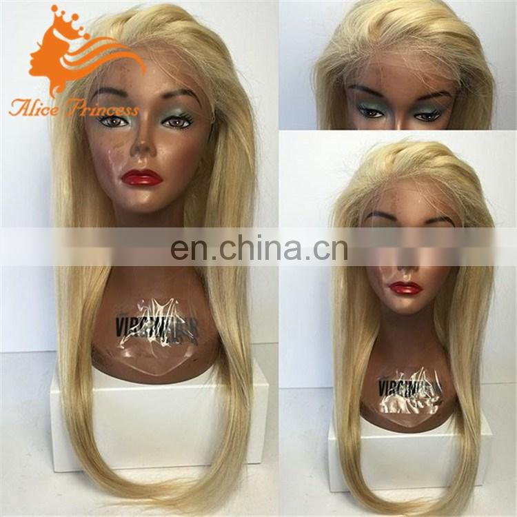 blonde European human hair full lace wig long blonde silky straight lace wig