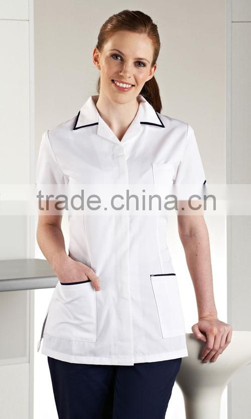 White with Navy Trim Female Nursing Blouses Designs Uniform Nursing Clothing