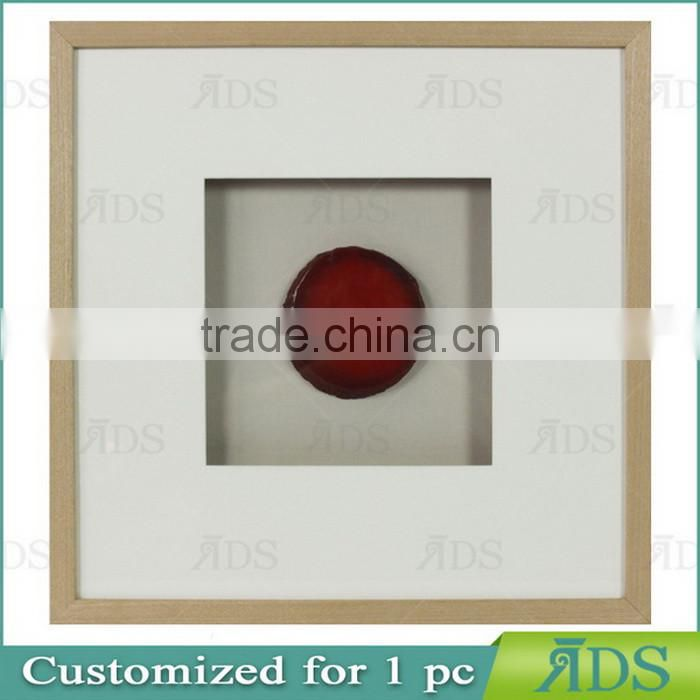 Shadow Box Frame With A Light Gray Wash And Encasing Colorful Natural Agate Under Glass