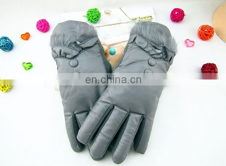 Simple and decent Fashion Ladies warm studs leather driving gloves