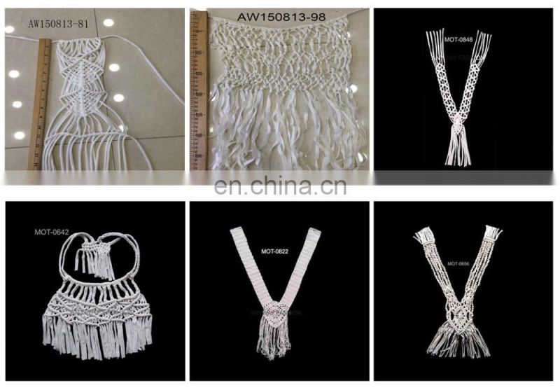 Chic pattern macrame motifs collar neckline for dress